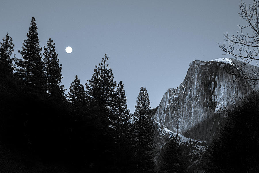 Nature Photograph - Half DOme Under Moonlight  by Paul Malen