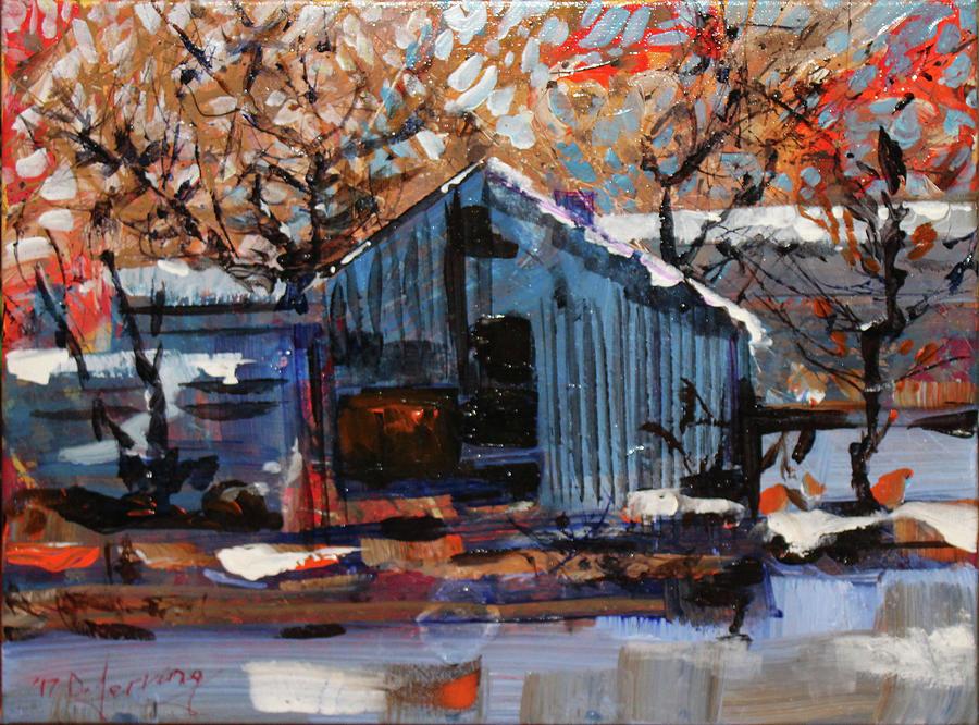 Halloween on Ice - Acrylic 16x12 Painting by Doug Jerving