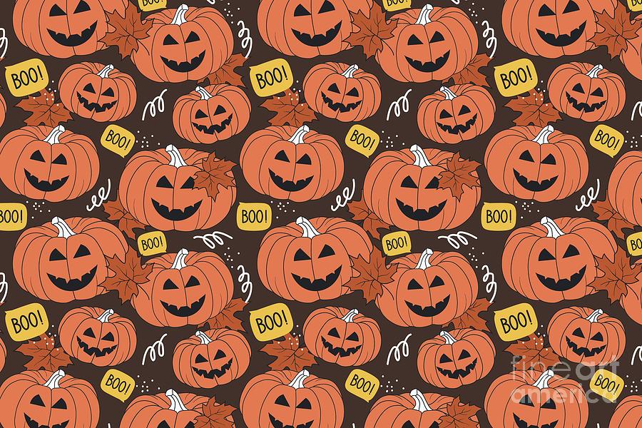 Halloween Print Boo Fall Art Pumpkin Autumn Wall Art