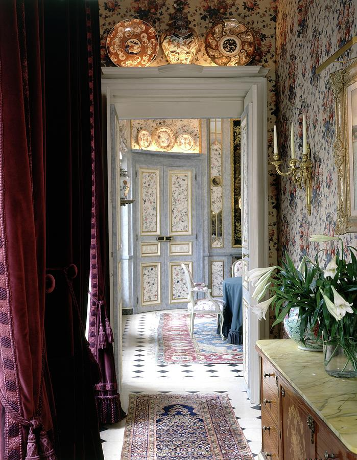 Hallway With Floral Wallpaper Photograph by Oberto Gili