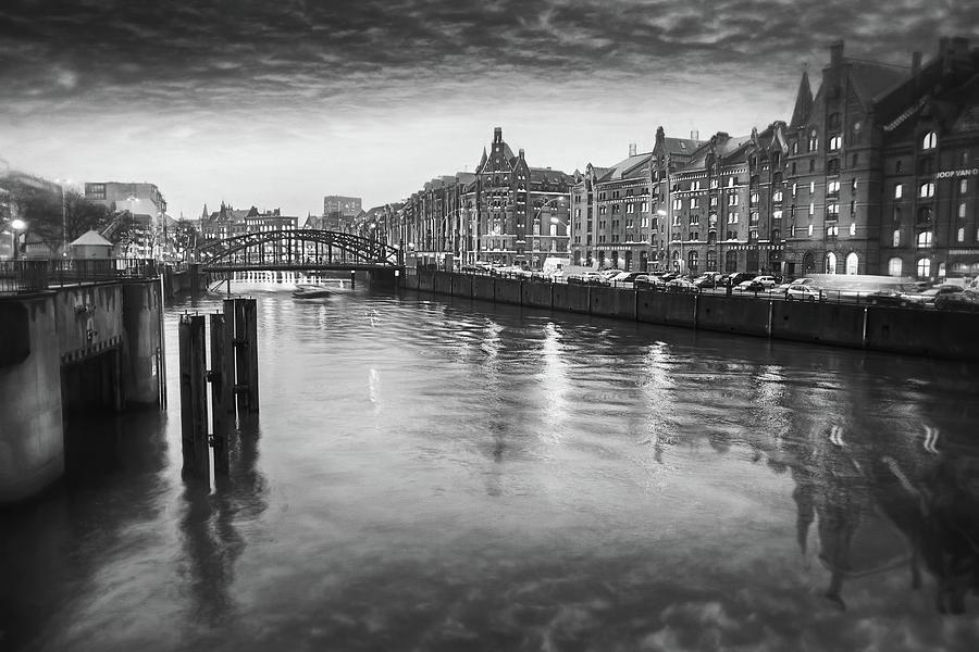 Hamburg Speicherstadt Hafencity By Dusk Black And White Photograph