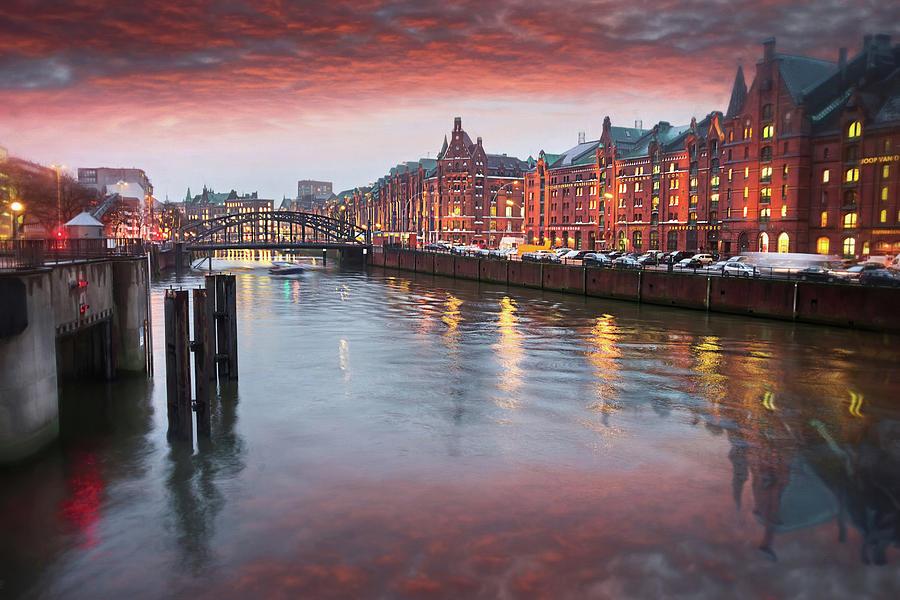 Hamburg Speicherstadt Hafencity By Dusk Photograph
