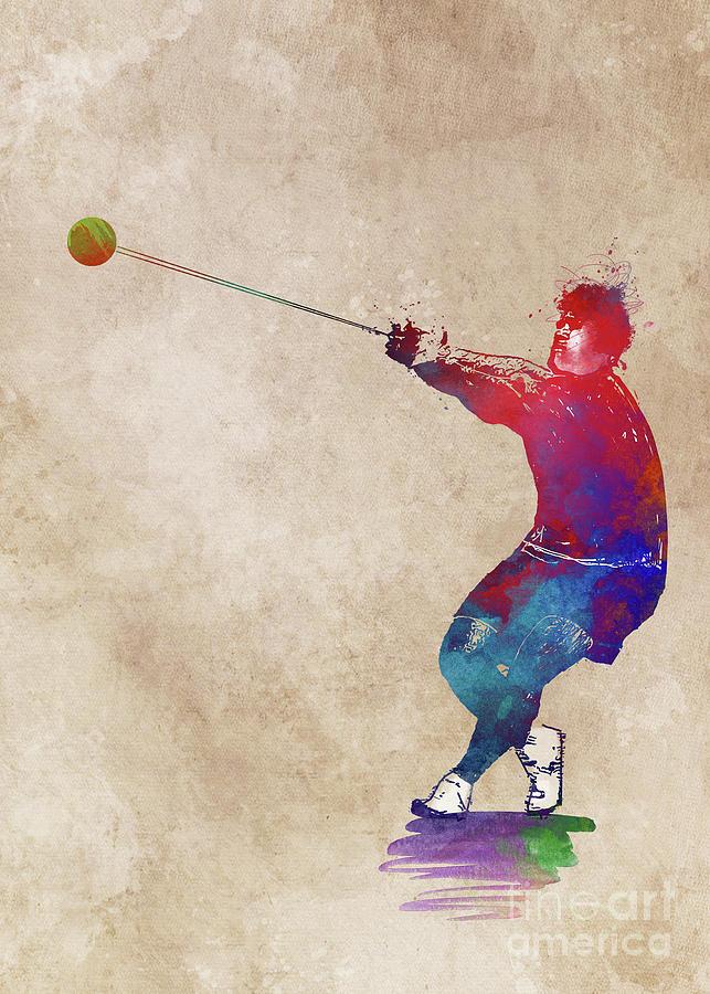 Hammer Throw Digital Art - Hammer Throw #sport #hammerthrow by Justyna Jaszke JBJart
