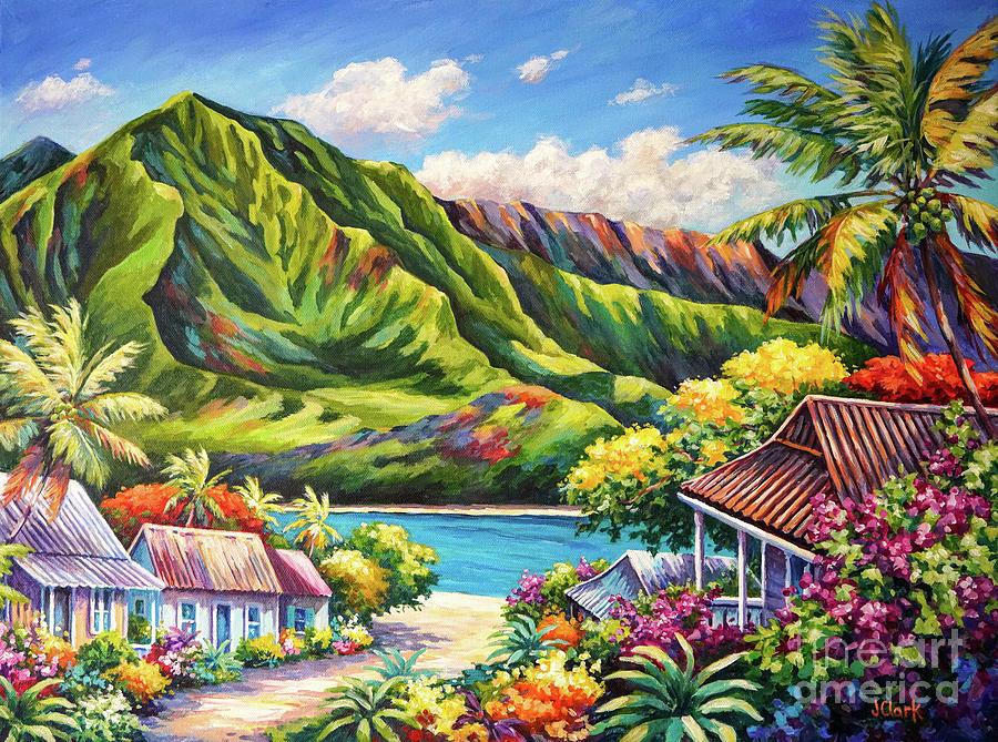 Kauai Painting - Hanalei in Bloom by John Clark