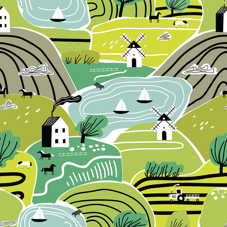 Hand Drawn Abstract Scandinavian Graphic Illustration Seamless Pattern With House, Trees And Hills. Nordic Nature Landscape Concept. Drawing
