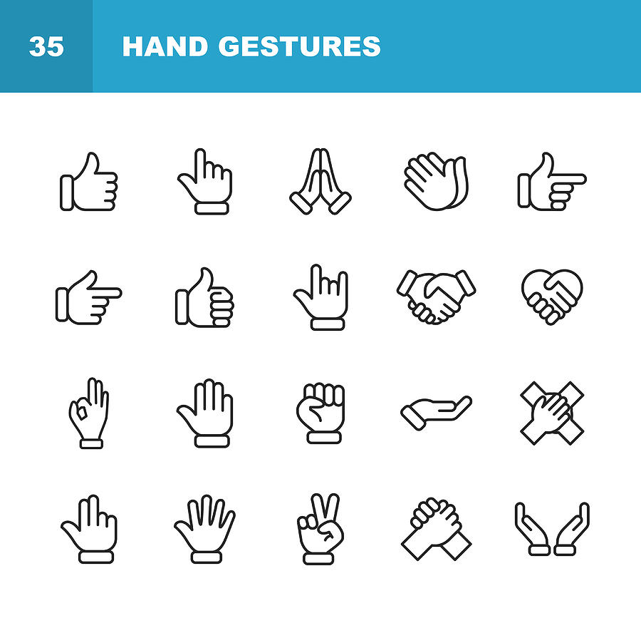 Hand Gestures Line Icons. Editable Stroke. Pixel Perfect. For Mobile and Web. Contains such icons as Gesture, Hand, Charity and Relief Work, Finger, Greeting, Handshake, A Helping Hand, Clapping, Teamwork. Drawing by Rambo182