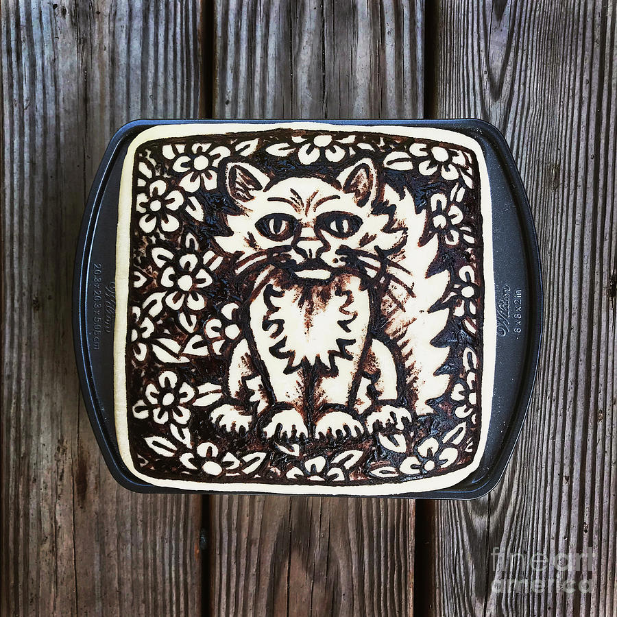 Hand Painted Sourdough Cat Designs X 2. 2 by Amy E Fraser