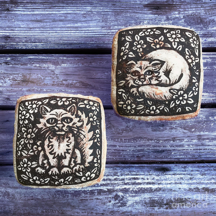 Hand Painted Sourdough Cat Designs X 2. 3 by Amy E Fraser