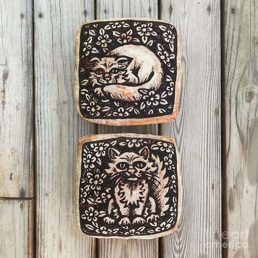 Hand Painted Sourdough Cat Designs X 2. 4 by Amy E Fraser