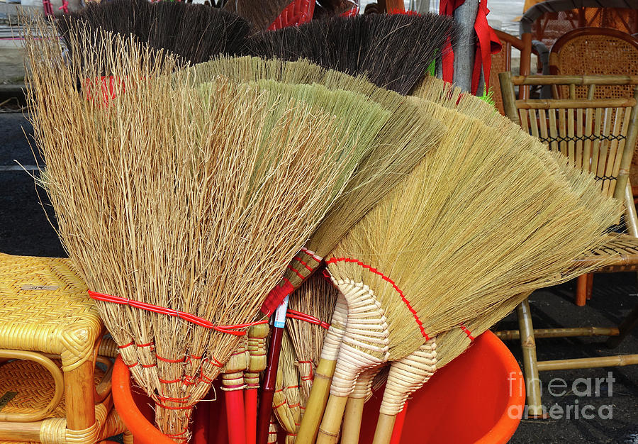 Handmade Brooms Made From Bamboo Branches by Yali Shi