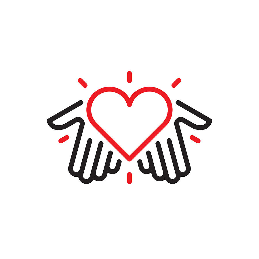 Hands with heart logo Drawing by Steppeua