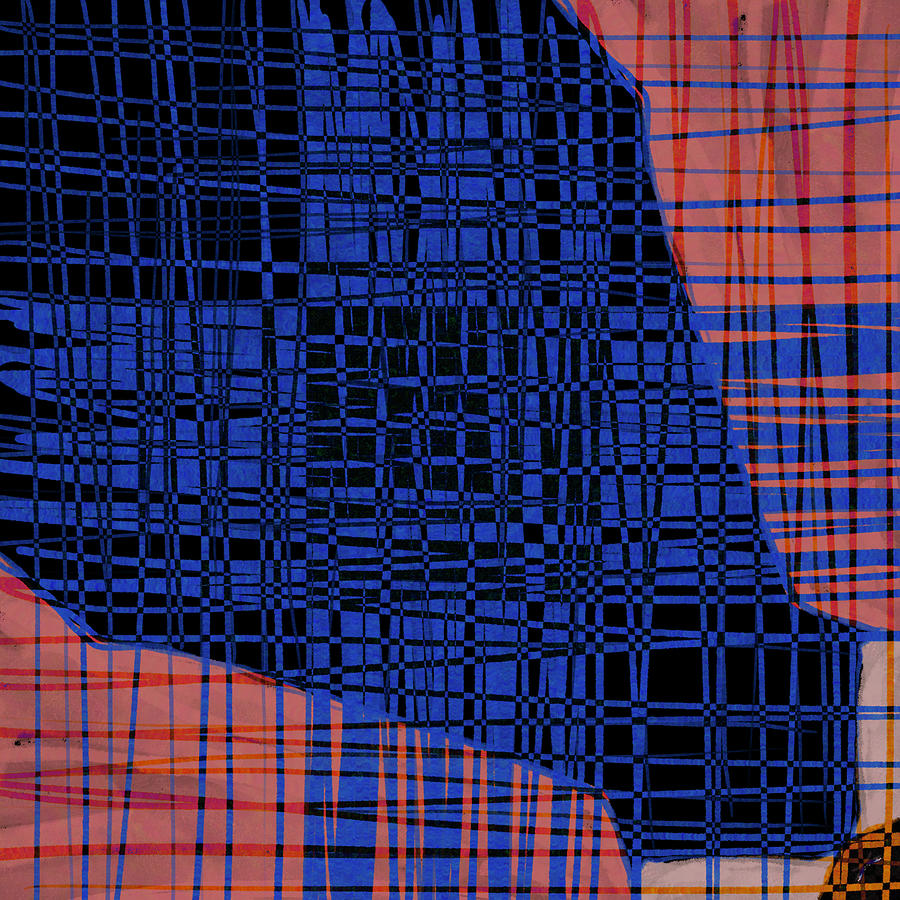 Handwoven 2 - Contemporary Abstract Painting In Red And Blue Digital Art