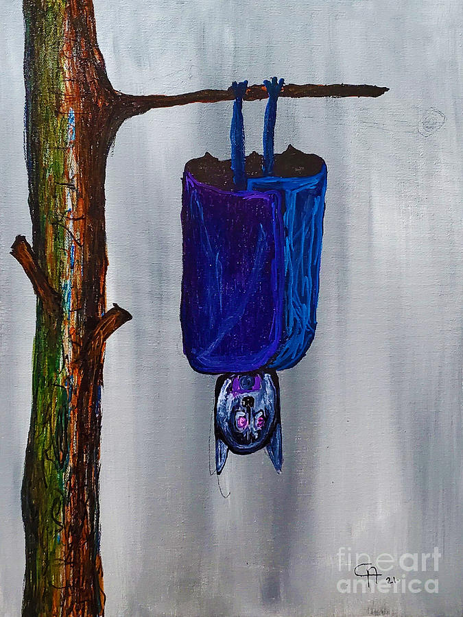 Hanging Bat Painting - Hang in there by Escudra Art