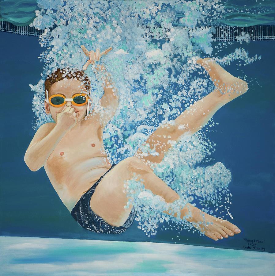 Swimming Pool Painting - Hang Loose Boy Underwater Swimming Painting by Linda Queally by Linda Queally