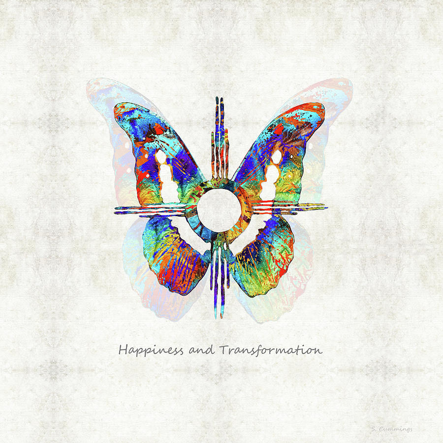 Butterfly Painting - Happiness And Transformation Symbol - Native American Art - Sharon Cummings by Sharon Cummings