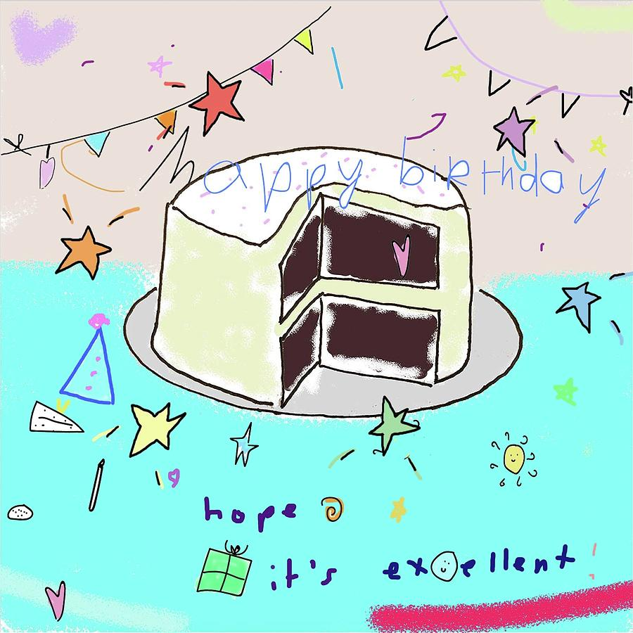 Terrific Happy Birthday Cake Drawing By Ashley Rice Personalised Birthday Cards Veneteletsinfo