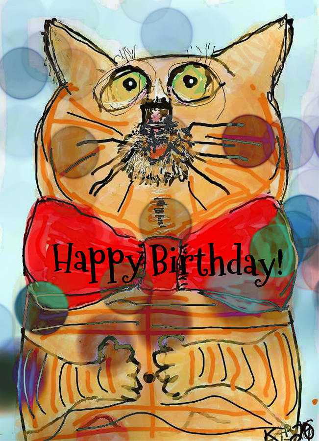 Happy Birthday Cat Drawing by Kathy Barney