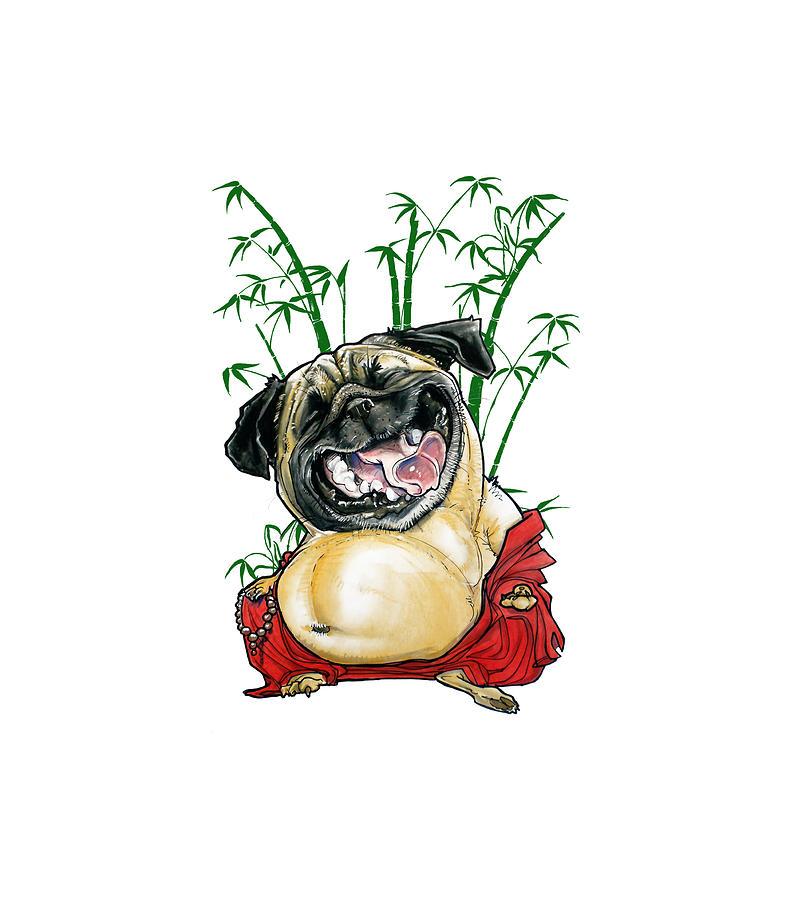 Happy Buddha Pug Drawing