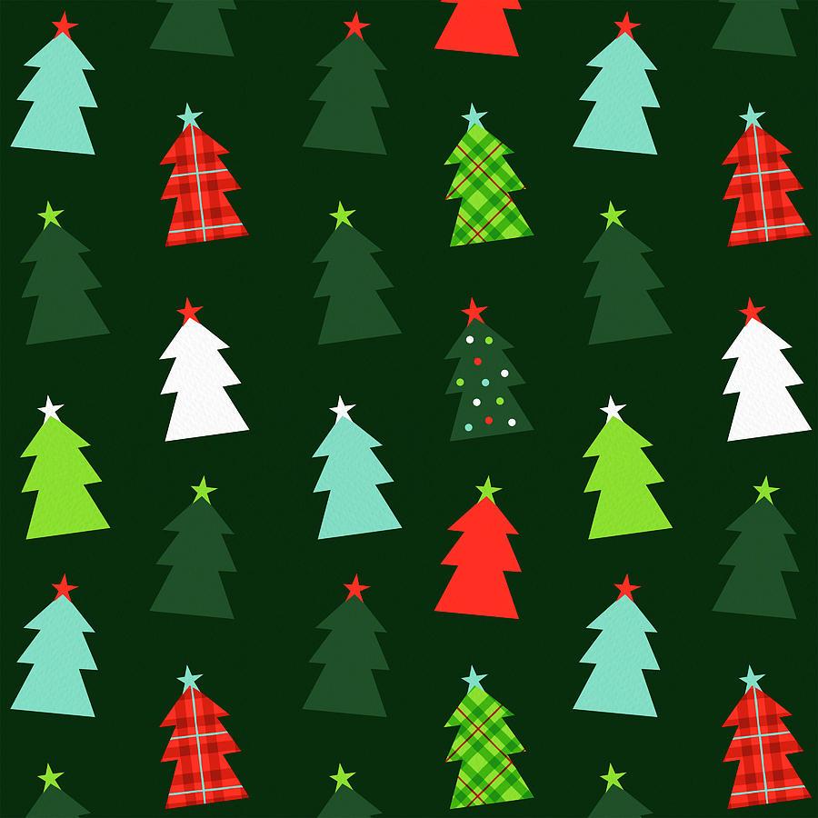 Tree Painting - Happy Christmas Tree Pattern by Jen Montgomery by Jen Montgomery