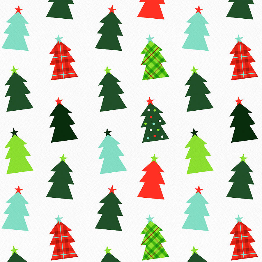 Tree Painting - Happy Christmas Tree Pattern on White by Jen Montgomery by Jen Montgomery
