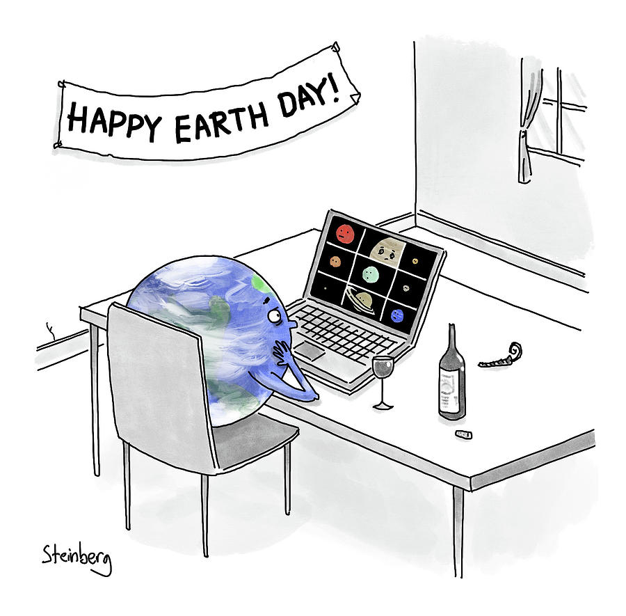Happy Earth Day Drawing by Avi Steinberg