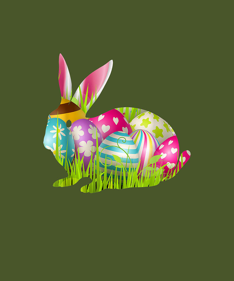 Happy Easter Day Gifts Costume Love Rabbit Colorful Eggs Tshirt
