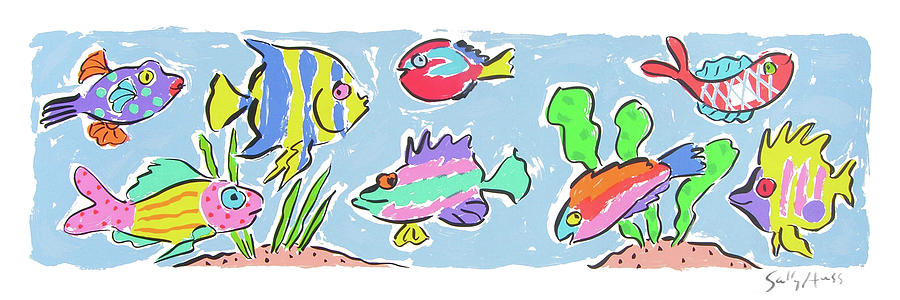 Fish Painting - Happy Fish by Sally Huss