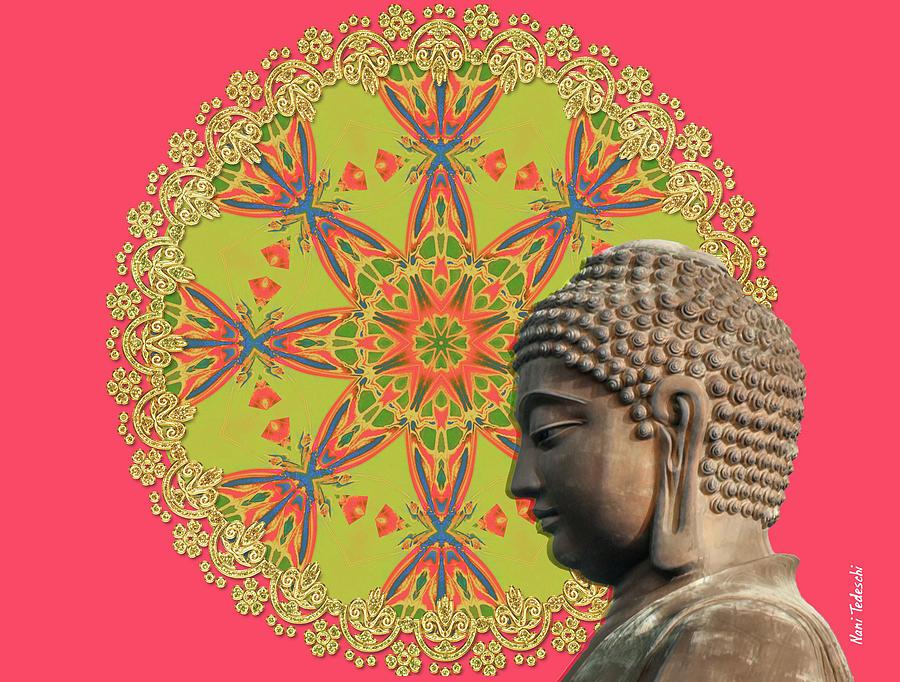 Happy Digital Art - Happy Floral Budha by Nani Tedeschi
