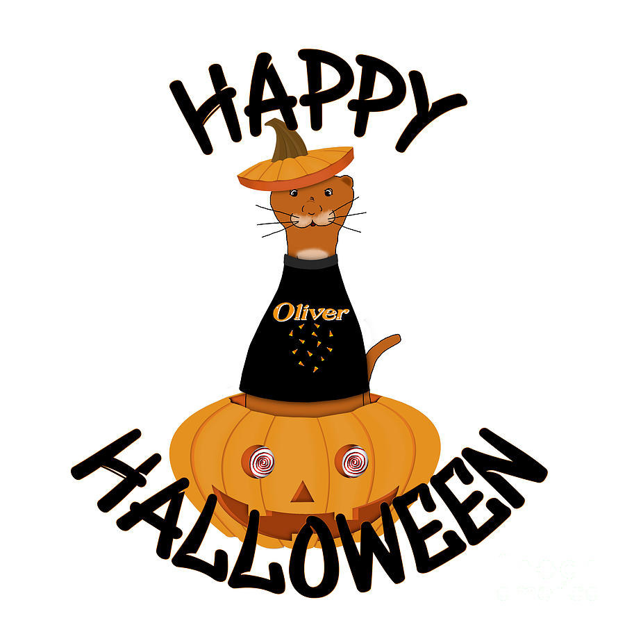 Halloween Digital Art - Happy Halloween Oliver by Colleen Cornelius