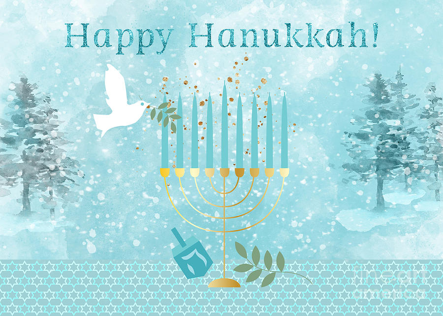 Happy Hanukkah Holiday Art by Anita Pollak