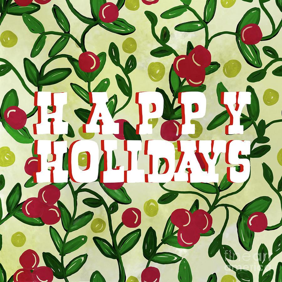 Happy Holidays Chintz Vine Digital Art