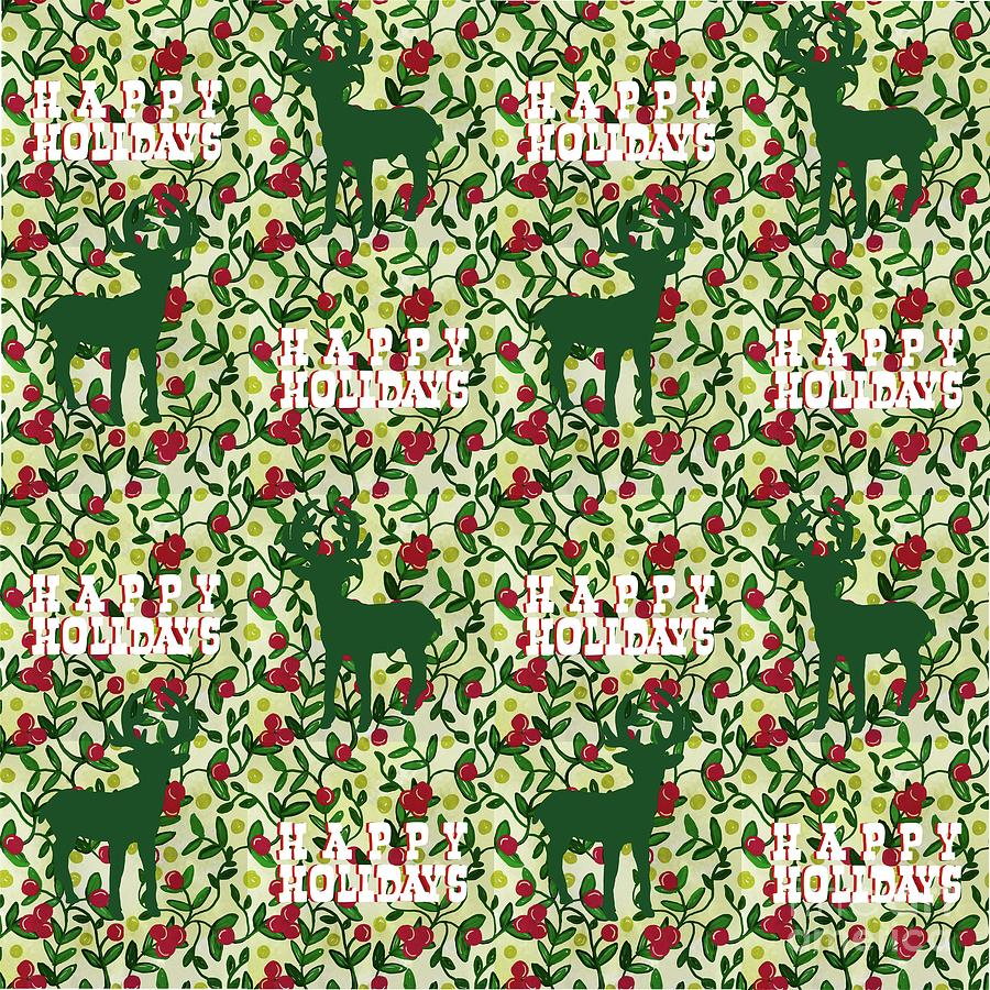 Happy Holidays Vine And Deer Digital Art