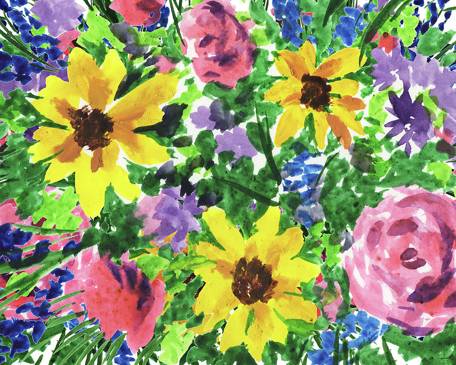Happy Impressionistic Flowers Yellow Pink Blue Watercolor Bouquet Painting