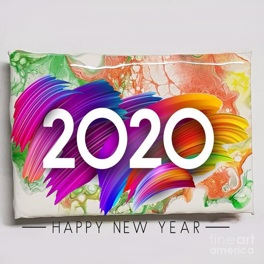 Happy Mixed Media - Happy New Year by Paola Baroni