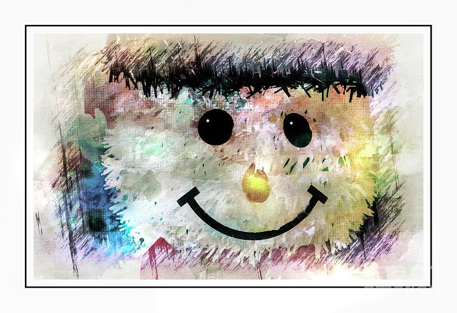 Happy Snowman Face Photograph