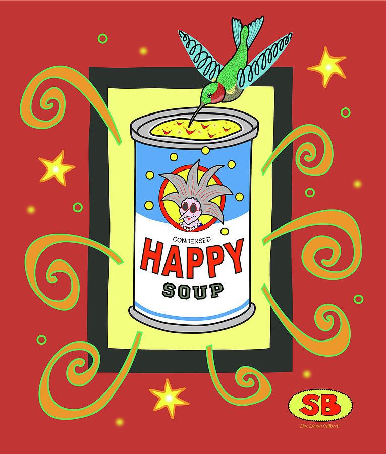 Soup Digital Art - Happy Soup by Susan Bird Artwork