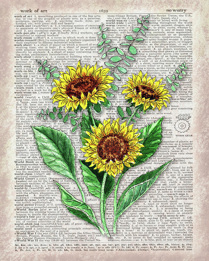 Happy Sunflowers Dictionary Page Watercolor Artwork by Irina Sztukowski