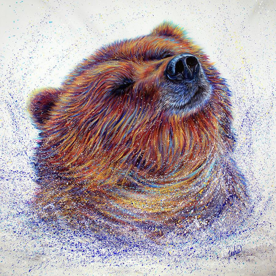 Bear Painting - Happy by Teshia Art