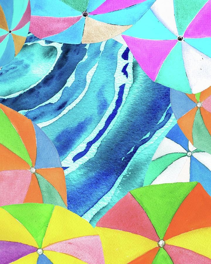 Umbrellas Painting - Happy Umbrellas On The Beach Summer Sunny Shore Coastal Art IV by Irina Sztukowski