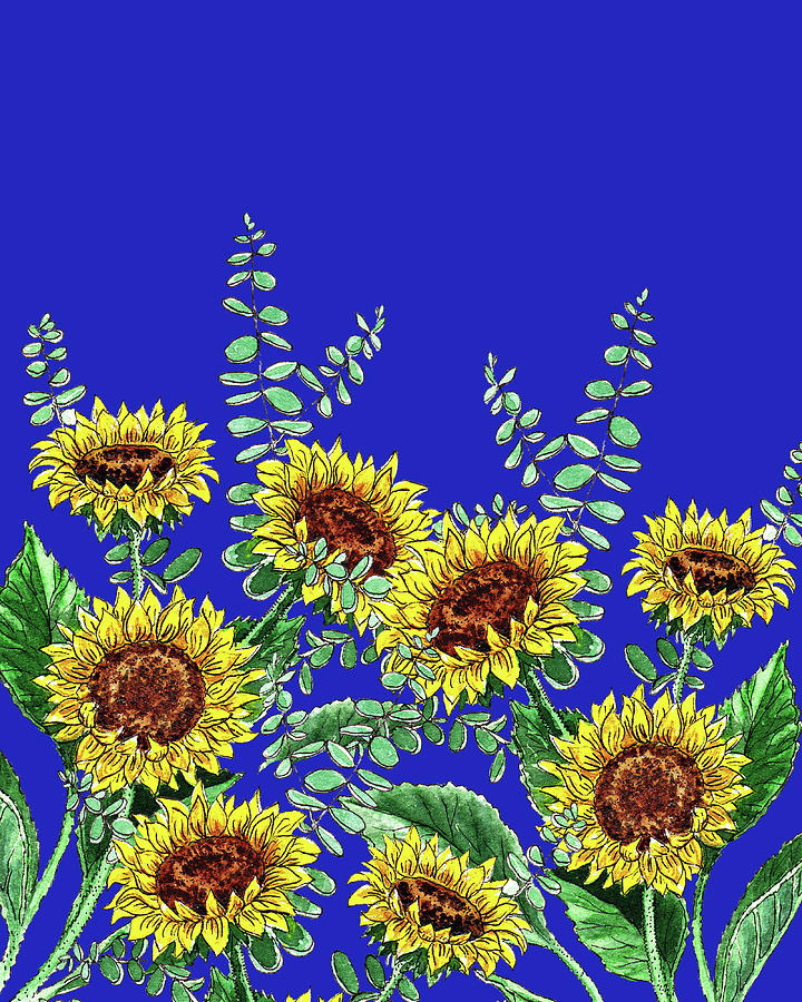 Happy Yellow Botanical Flowers Watercolor Sunflowers Blue Sky Painting