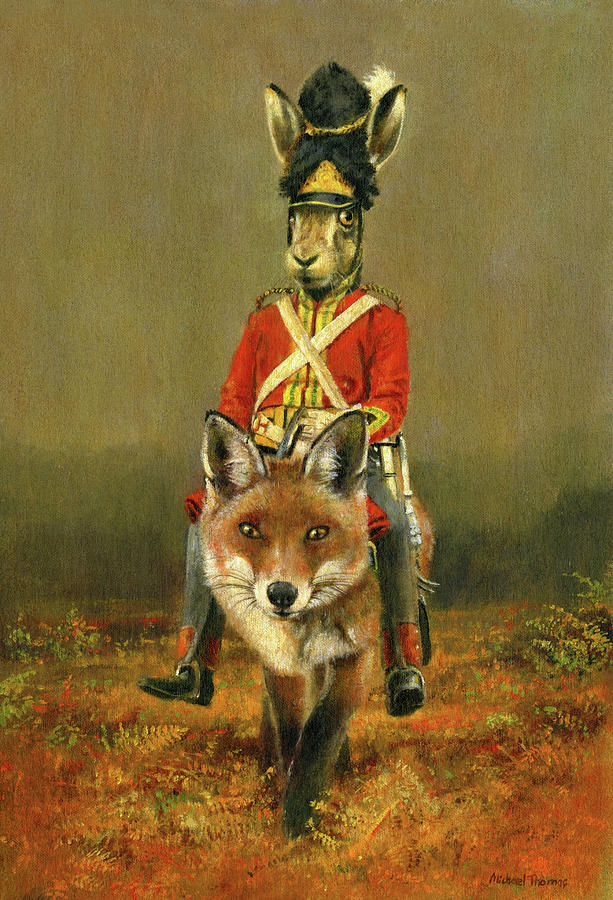 Hare And Fox Cavalry Painting