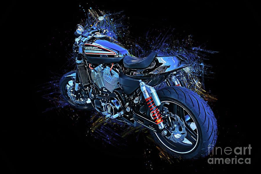 Harley Davidson Splash Paint 3936 by Carlos Diaz