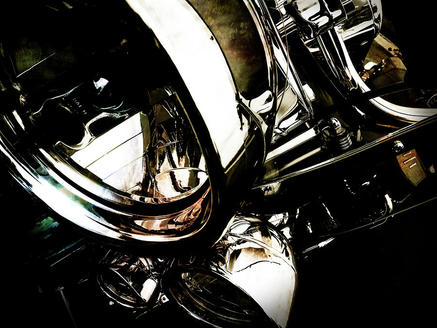 Mc Photograph - Harley Motorcycle Chrome by Krista Droop