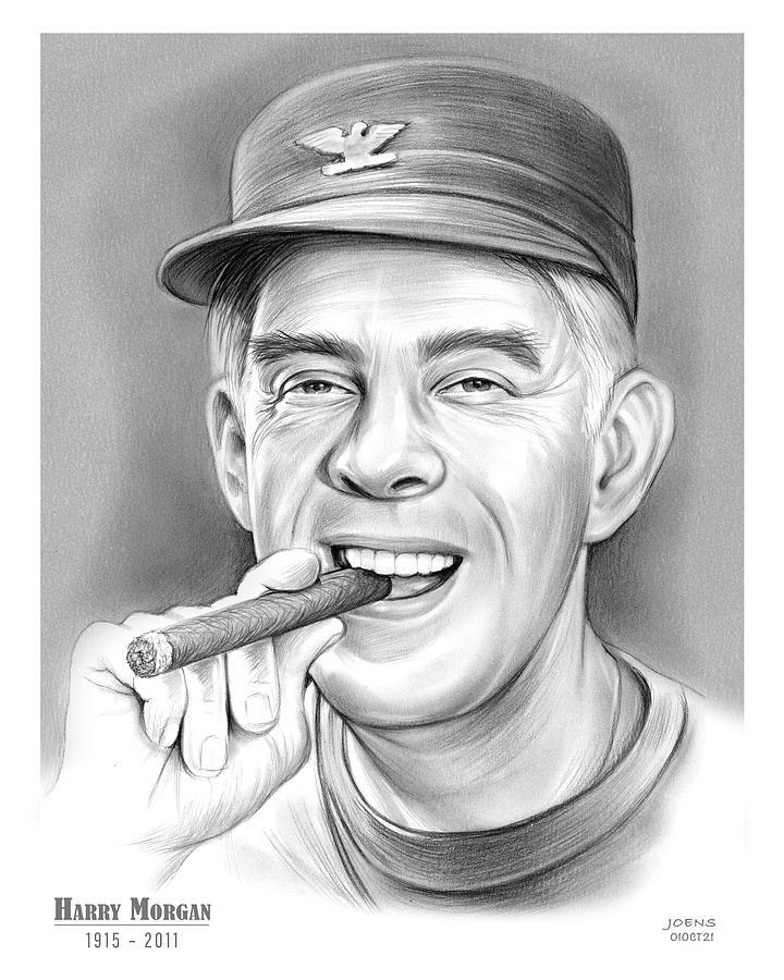 Harry Morgan Drawing - Harry Morgan - pencil by Greg Joens