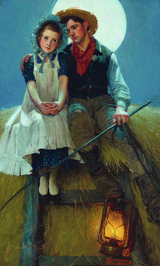 Norman Rockwell Painting - Harvest Moon, Young Lovers on a Hay Rick, 1920 by Norman Rockwell