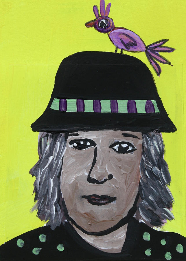 Altered Book Mixed Media - Hat with Purple Bird by Janyce Boynton