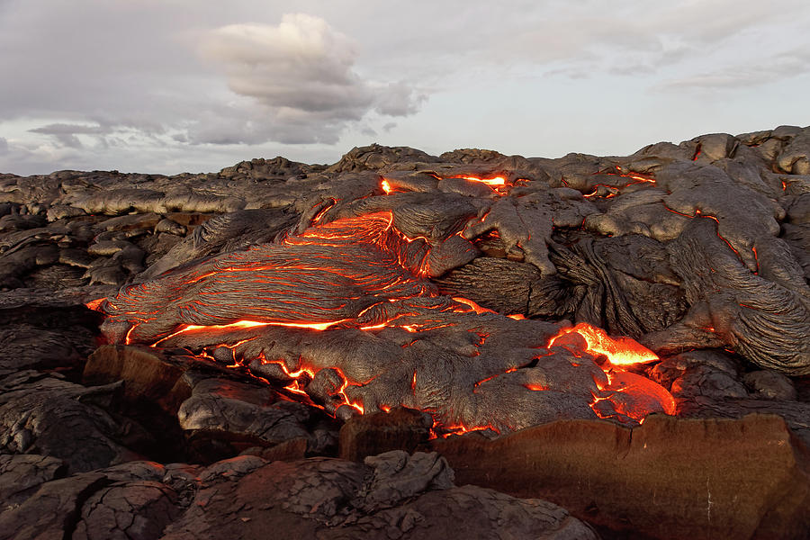Lava Photograph - Hawaii - lava emerges from a column of the earth by Ralf Lehmann