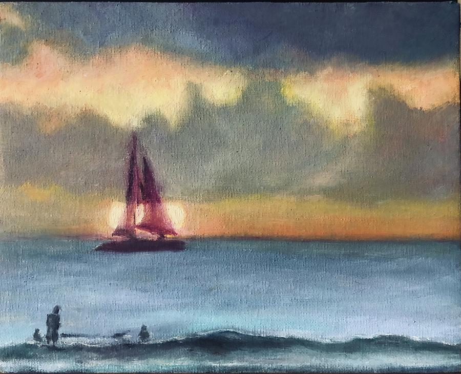 Sailing Painting - Hawaii by Ted Coombs