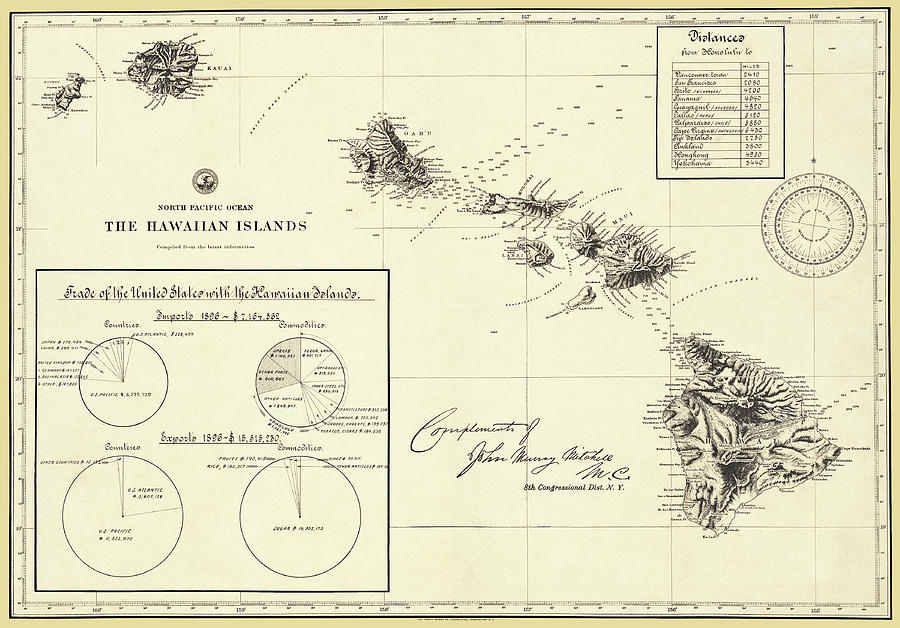 Hawaiian Islands 1896 Antique Restored Reproduction Map by Phil Cardamone