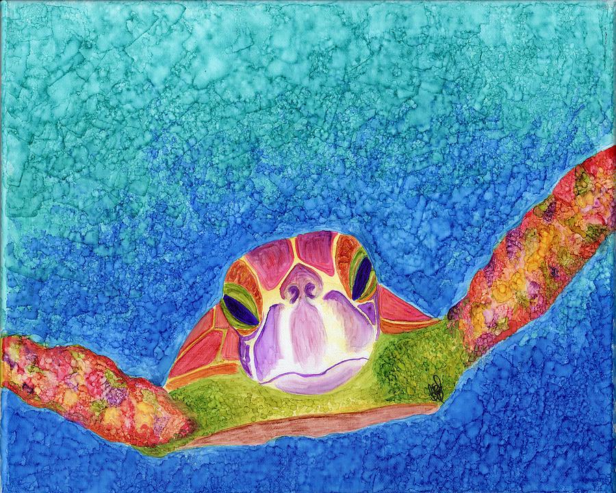 Sea Turtle Painting - Hawksbill Sea Turtle Painting by Bridget Zoltek